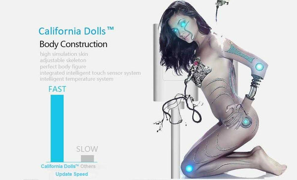 Nude robotic sex doll with cutouts showing electronics.