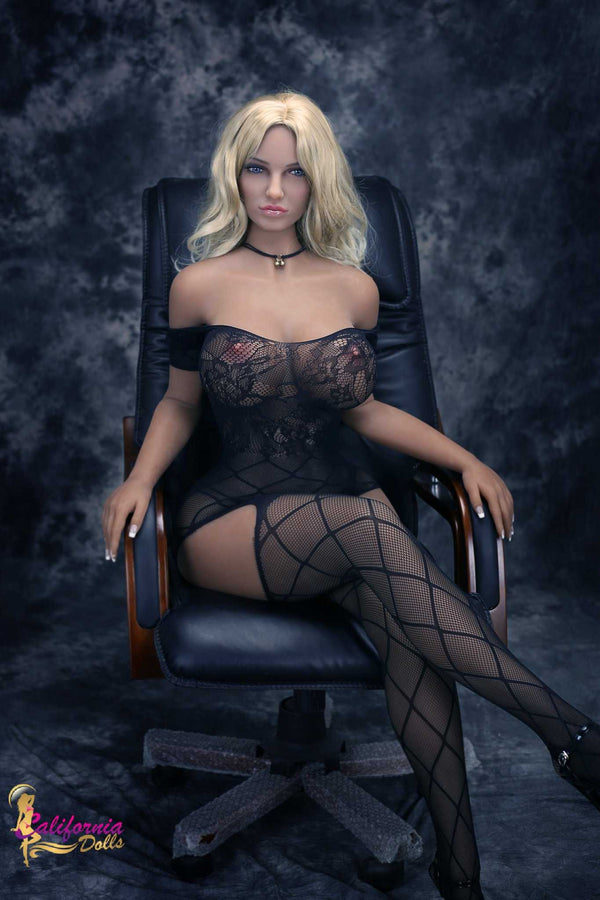 Tall sex doll seated with legs crossed in sexy lingerie.