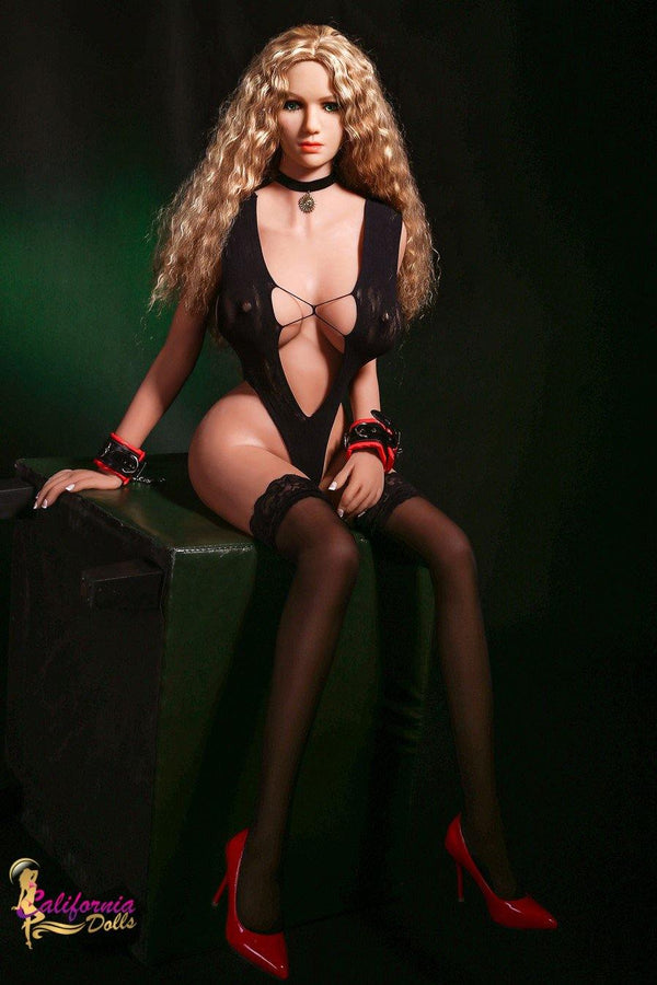 Silicone doll in sexy black heart stopping lingerie.