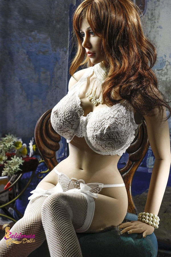 Sex doll with long beautiful hair covering shoulders.