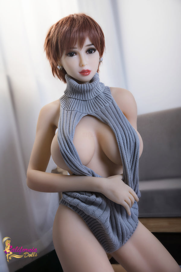 Large tits sex doll with beautiful brown eyes.