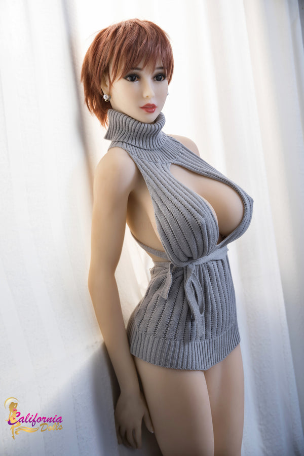 Large breast sex doll with pretty, short hair.