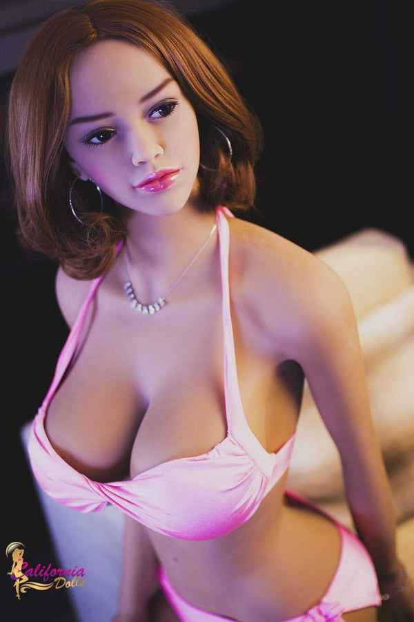 Brunette sex doll with beautiful face.