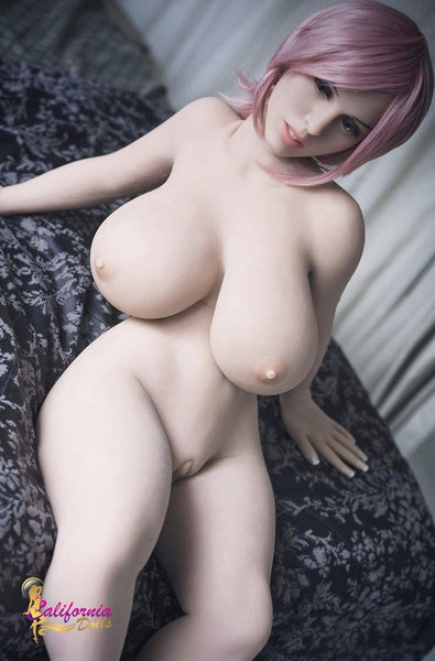 Nude love doll sitting on soft bed and waiting for you.