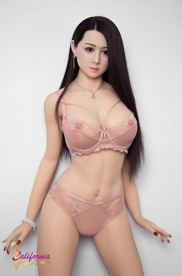 Large boob sex doll with long straight black hair.