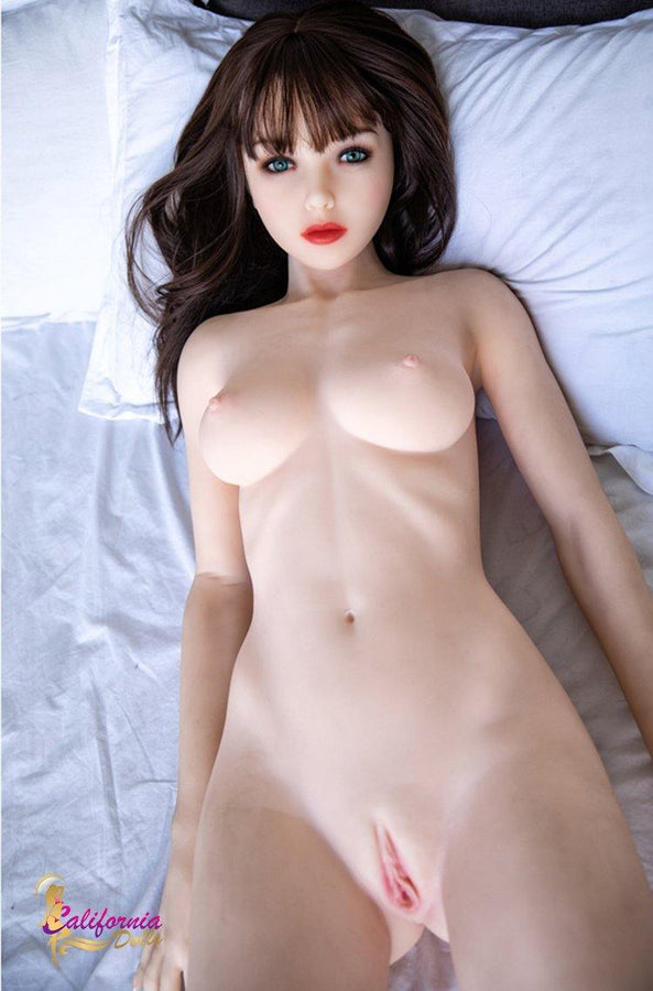 Small breasts sex doll spreads legs revealing vagina.