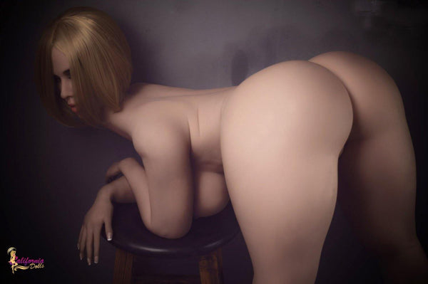 Silicone sex doll with large thighs and big round butt.