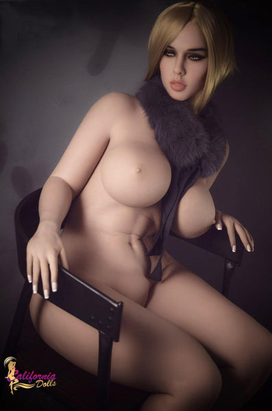 Curvy bbw sex doll sits nude is chair.