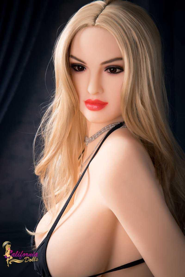 Big android sex doll with long blonde hair.