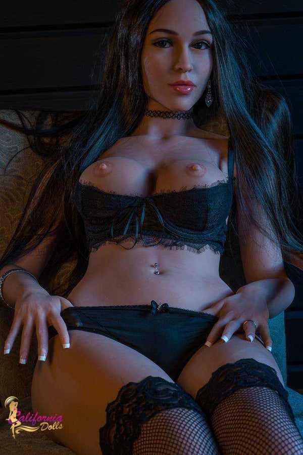 Sex doll with beautiful long black hair outlining her pretty face.