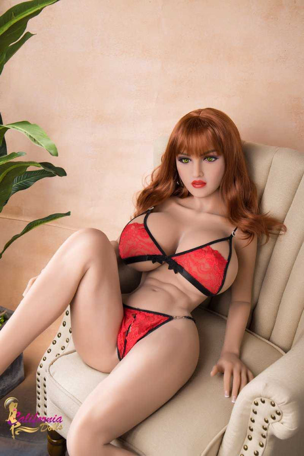 Beautiful robot sex doll in sheer red lingerie.