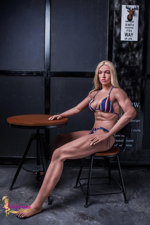 Sex doll with long sexy muscular legs.