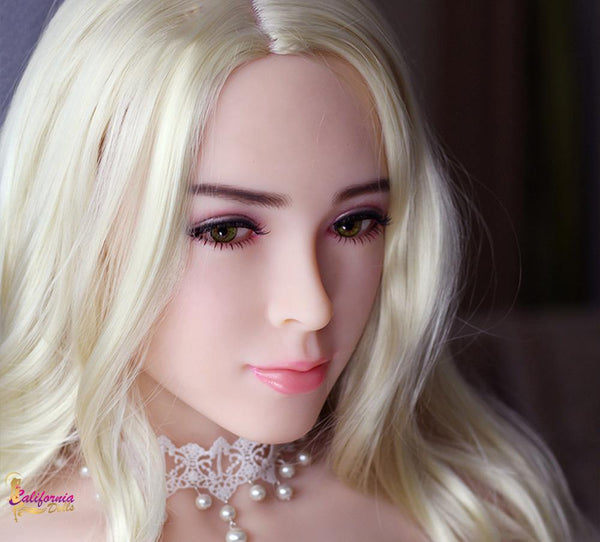 Robotic sex doll wearing white pearl necklace.