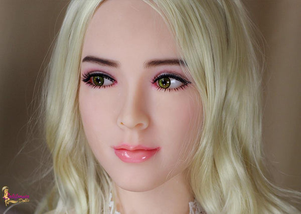 Robotic sex doll with pink lips and pretty nose.