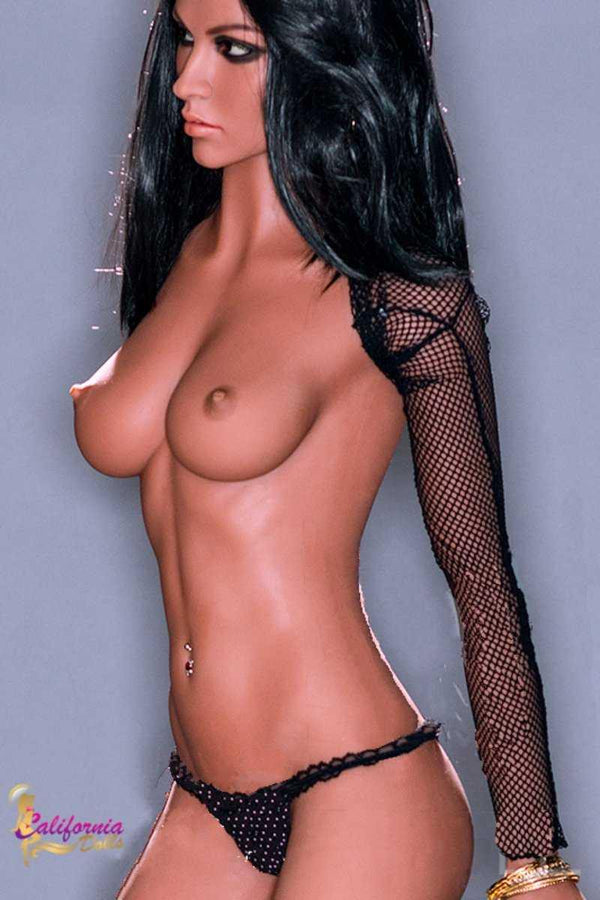TPE sex doll with beautiful tanned breast.