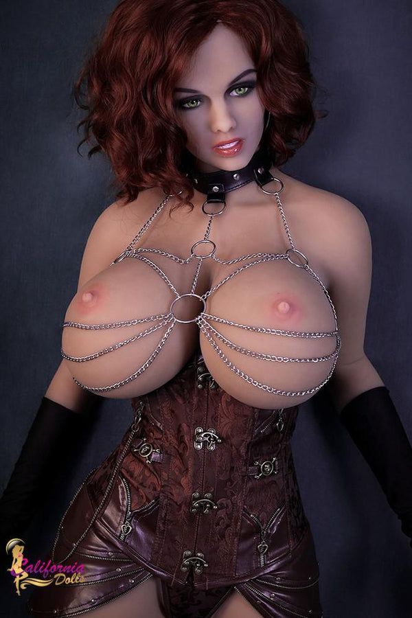 Tall sex doll with shoulder length wavy hair.