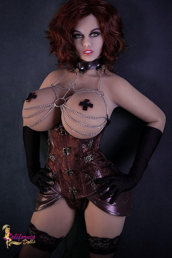 Tall sex doll wearing domination leather outfit