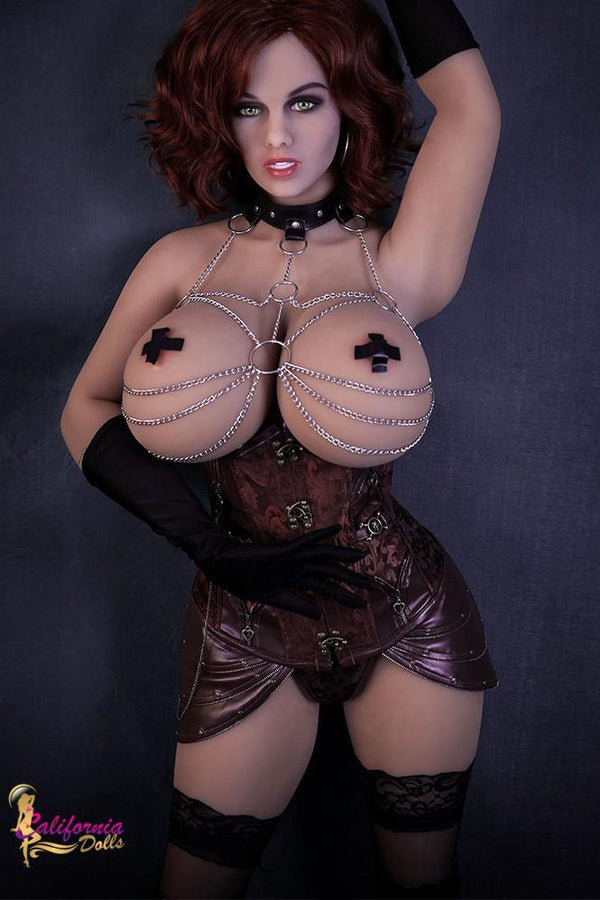 Tall beautiful sex doll wearing collar and chain bra.