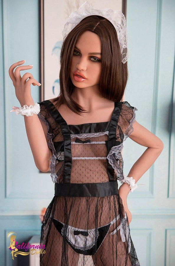 Sex doll was wearing a black sexy lace skirt