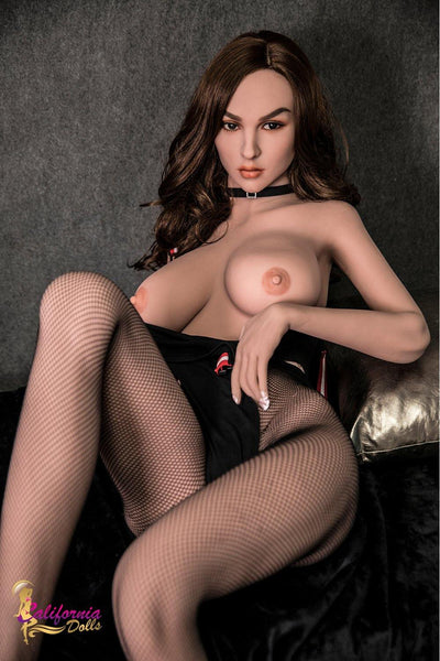 Lifelike love doll Mia took off her black coat and showed her soft chest