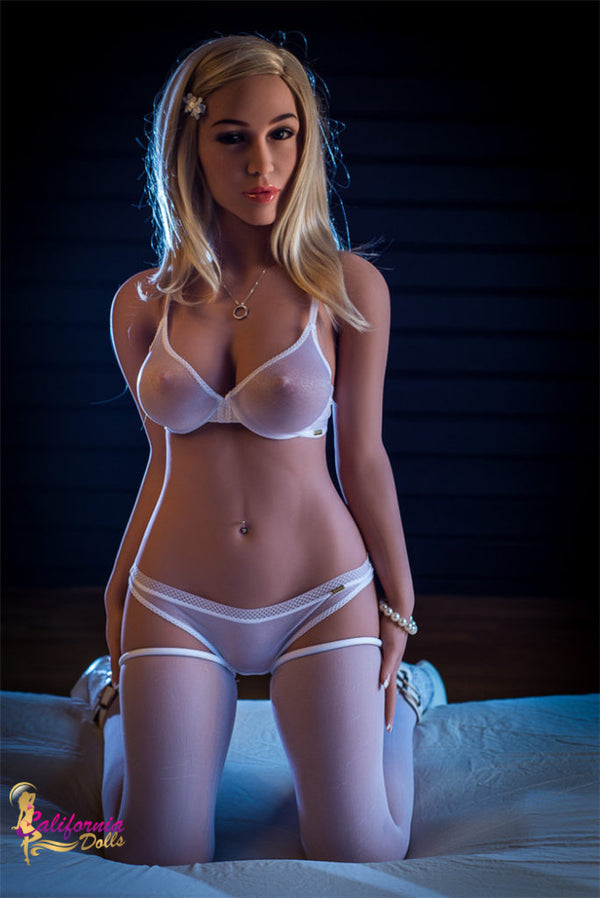 Athletic sex doll wearing sheer white lingerie and stockings.