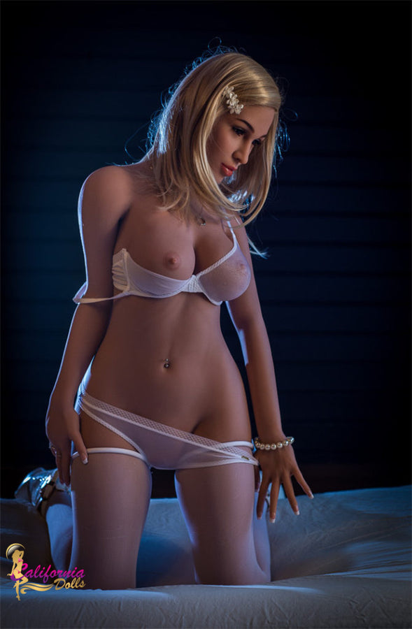 Athletic blonde sex doll and see through thong.