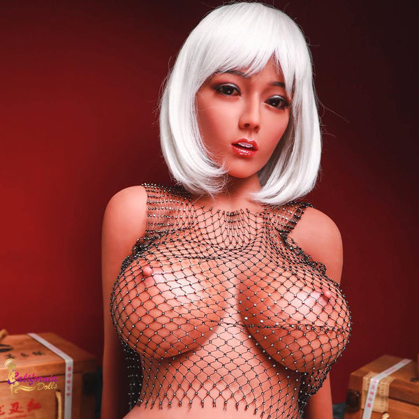 Youthful sex doll wearing mesh top.