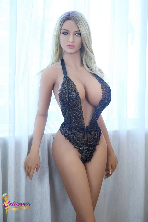 Hourglass shaped sex doll in sexy black lingerie