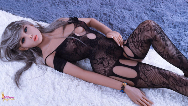 Love doll wearing sheer black sexy lingerie.