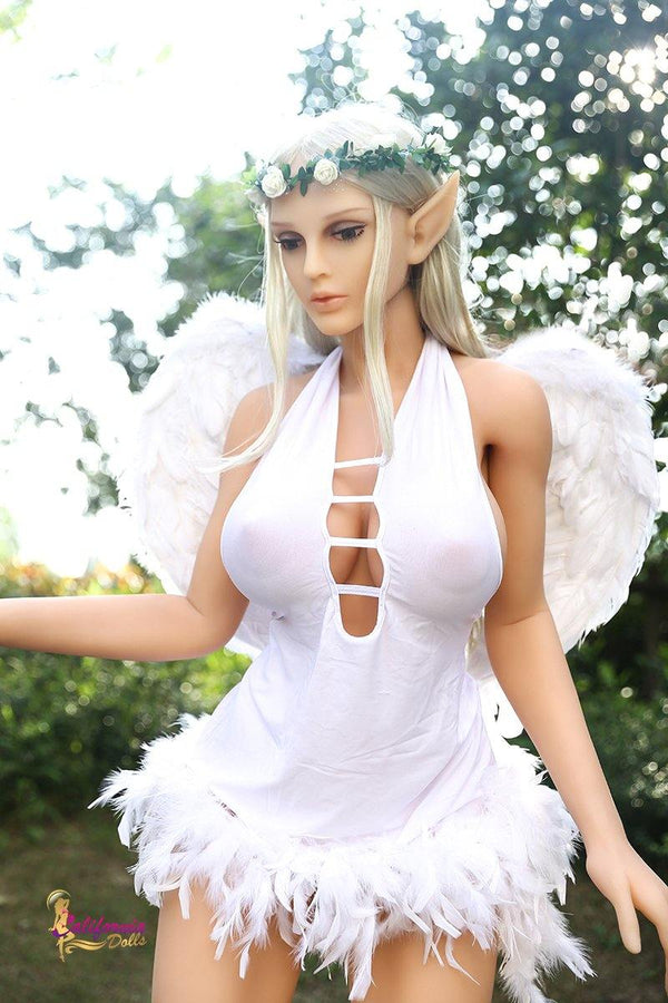 Angle sex doll Christina wears a white dress with feathers