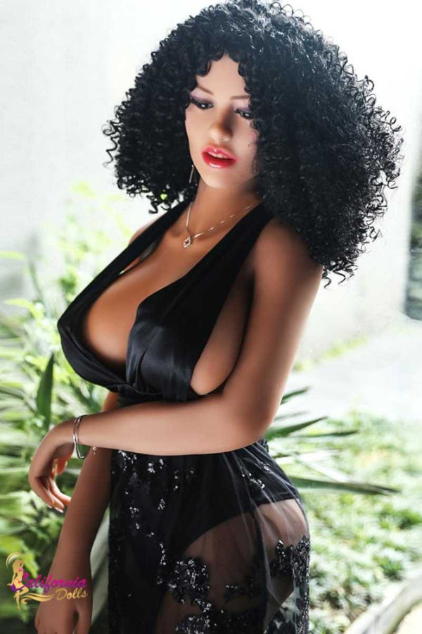 Pretty face and sexy body black sex doll.