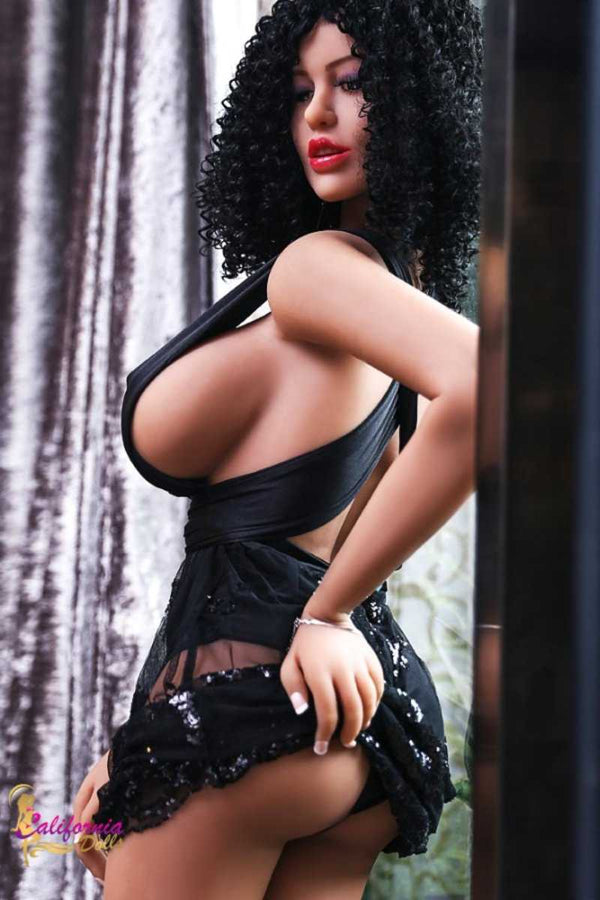 Large breast black sex doll and black lingerie.