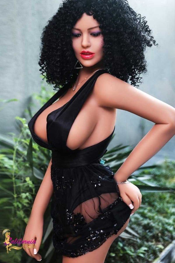 Black sex doll with hand on plump round butt.