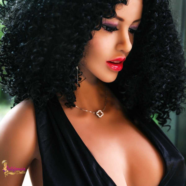 Gorgeous facial features of black sex doll.