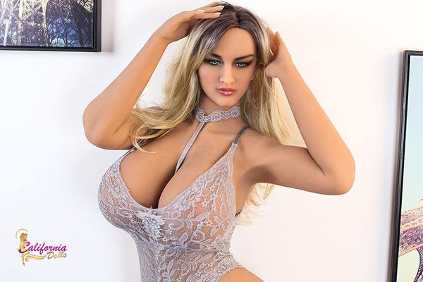 Adorable silicone sex doll with hands on head.