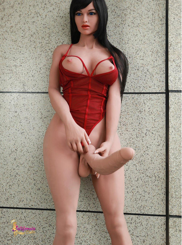 Tall shemale love doll Jessica has long straight black hair