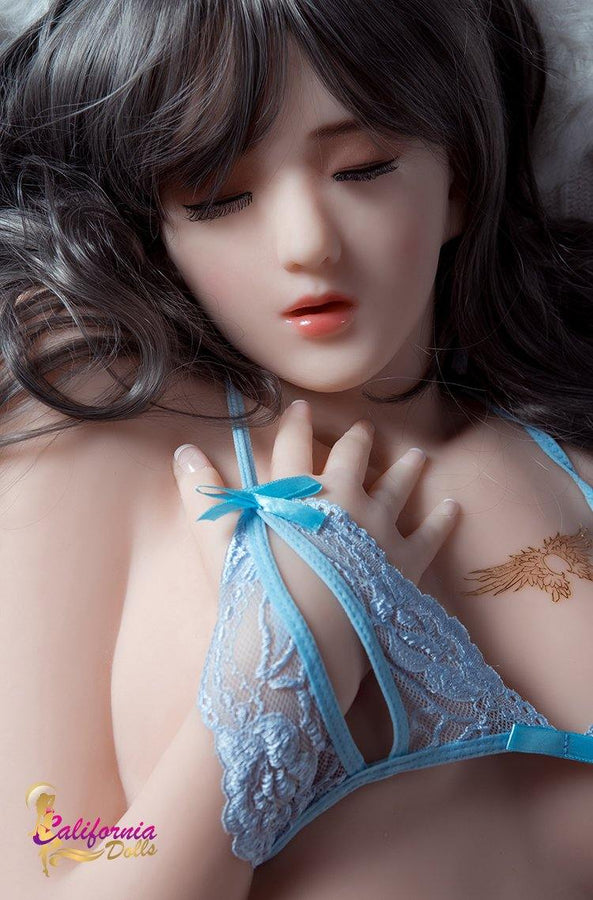 Japanese sex doll with long grey hair