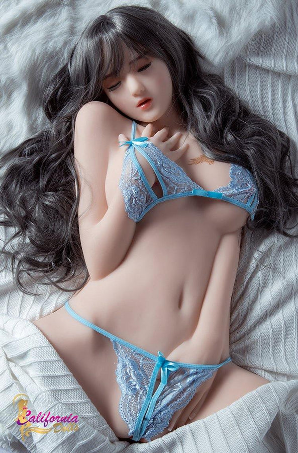 Sex doll torso wearing sexy light blue lingerie