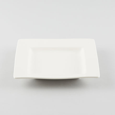 Square Plate with Flat Rim - White