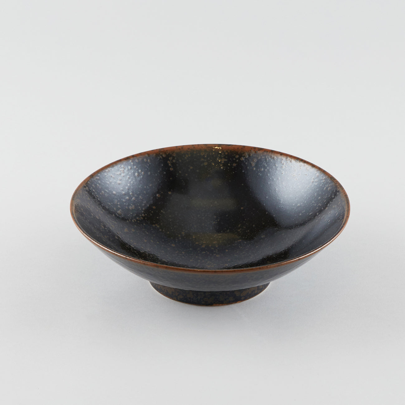 Smooth Earth Black Shallow Bowl