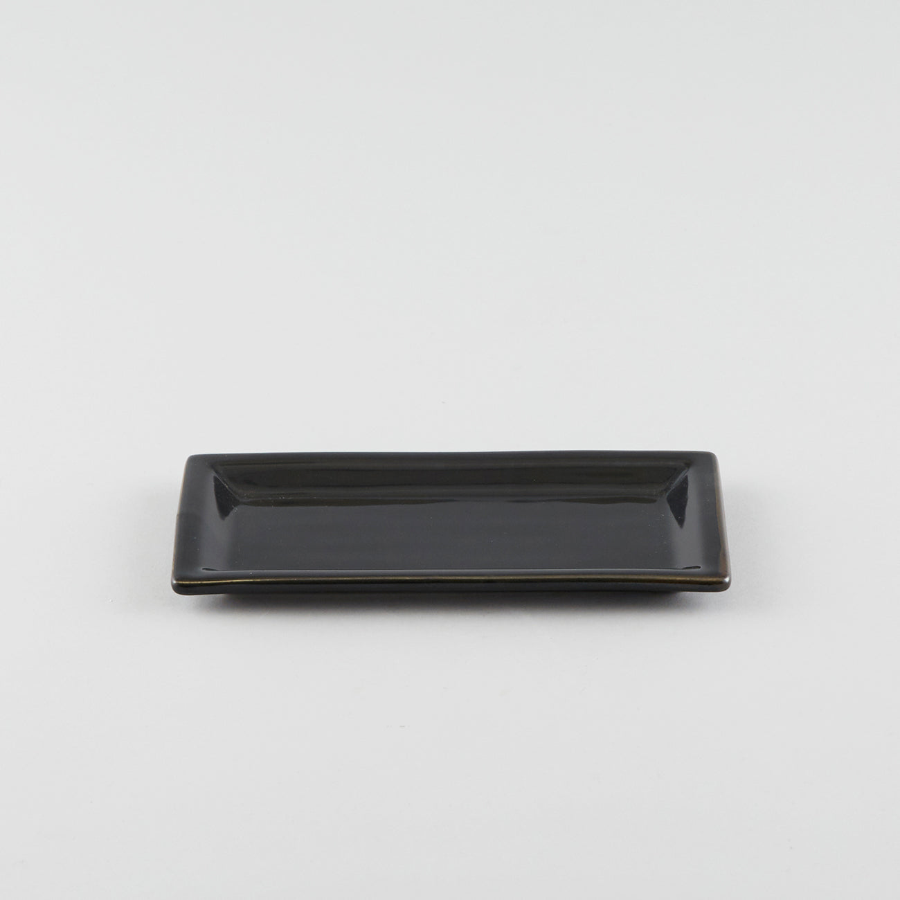 Rectangle Plate with Raised Rim - Black