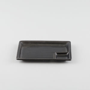 Rectangle Plate with Divider - Black