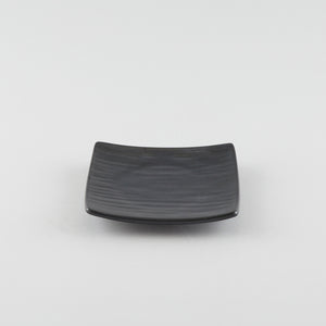 Square Texture Plate with Raised Corners - Black