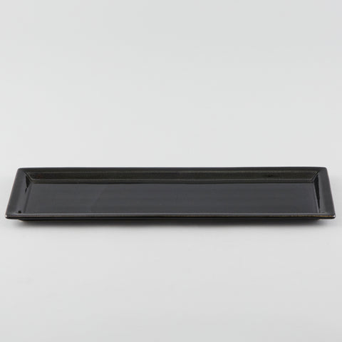 Rectangle Plate with Risen Rim - Black