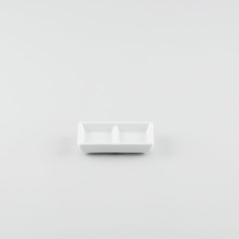 2 Compartment Rectangle Sauce Dish - White