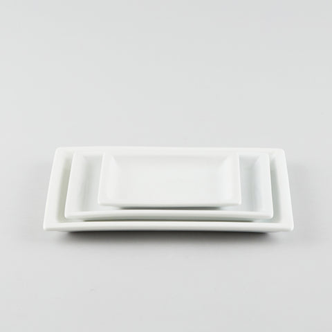 Rectangle Plate with Raised Rim - White (S)