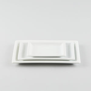 Rectangle Plate with Risen Rim - White (M)