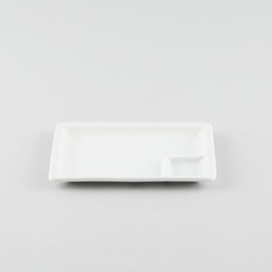 Rectangle Plate with Divider - White