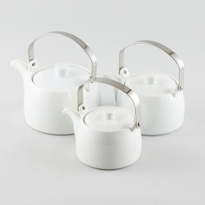 Tea Pot with Metal Handle - White (S) 24 fl oz.
