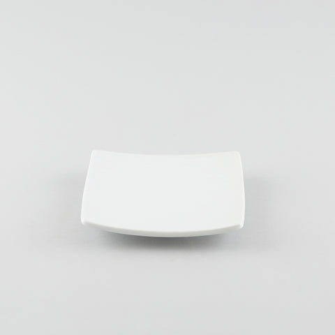 Square Texture Plate with Raised Corners - White